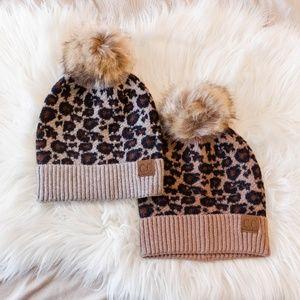 CC Beanie Leopard Cheetah Print Fur Pom Beanie